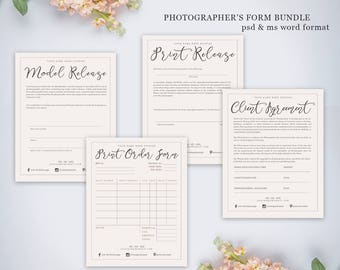 Photography Form Bundle Kit | Photography Contract Print Release Model Release Print Order Form | .PSD & Word Document