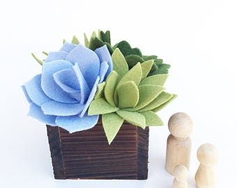 Felt Succulent  . Faux Plant . Wooden Planter Box . Succulent  . Wedding Favor . Gift Idea