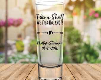 "Custom Personalized ""Take a Shot!"" Tall Wedding Favor Shot Glasses"