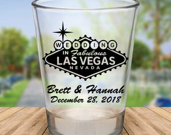 Custom Las Vegas Wedding Favor Shot Glasses