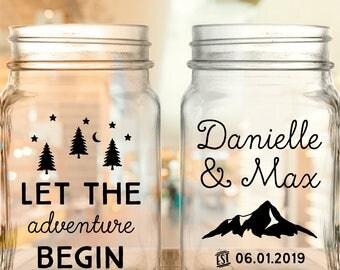 "Custom ""Let The Adventure Begin"" 2-Sided Wedding Favor Mason Jars"