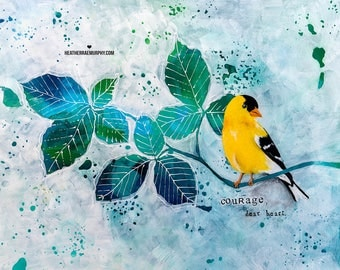 COURAGE | Colorful Wall Art | Art Print | Inspiring Wall Art | Inspirational Quote | Bird Print | Bird Painting | Nature Art