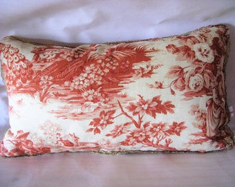"""French toile de Jouy cushion """"Louisa"""" cotton and linen, 47 x 27"""