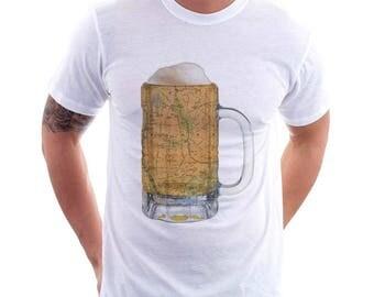 Bronx NY Map Beer Mug Tee, Vintage City Maps Beer Mug Tees, Beer T-Shirt, Beer Thinkers, Beer Lovers, Cities, Beer Lover Tees
