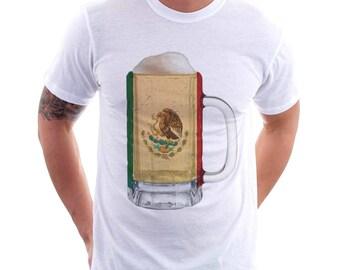 Mexico Country Flag Beer Mug Tee, Home Tee, Country Pride, Country Tee, Beer Tee, Beer T-Shirt, Beer Thinkers, Beer Lovers Tee, Fun Tee