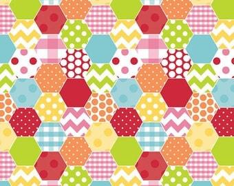 SALE!!! Riley Blake Hexi Print in Rainbow - Fabric by the yard - Quilting Fabrics - Riley Blake Fabrics - Rainbow Fabrics - Cotton Fabrics