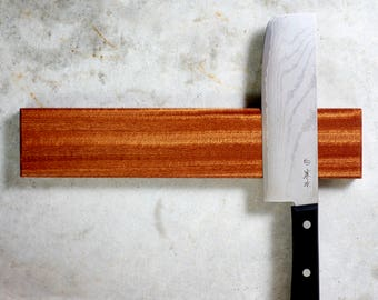 Magnetic Knife Rack - Sustainable Sapele Wood, Rare Earth Magnets, Multiple Sizes Available