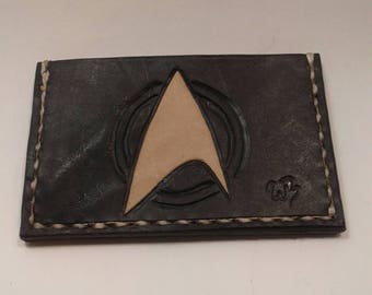 Star Trek minimalist leather wallet, hand made in the USA with free shipping