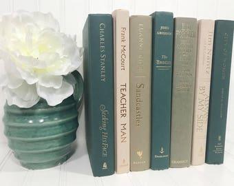 Blue Green Tan Decorative Book Set