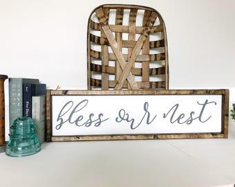Bless Our Nest Sign, Family Room Sign, Living Room Decor, Farmhouse Decor, Blessed Sign, Dining Room Decor, Gift for Mom