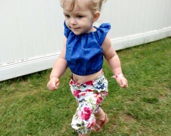 Floral girls Capri pants, baby, toddler, kids flower capris