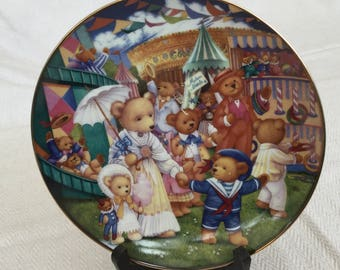 Vintage Teddy Bear Fair Fine Porcelain Decorative Plate by Carol Lawson, Collectible, Limited Edition, Plate no 2170