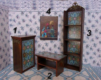 Cupboard. Table. Whatnot.Furniture for a doll. Dollhouse furniture. Scale 1:12