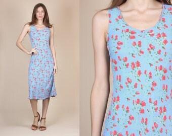 90s Grunge Floral Dress - Small // Vintage Blue Column Midi