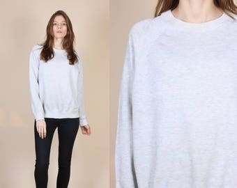 Vintage Raglan Sleeve Sweatshirt - Medium/Large // 80s Heather Gray Retro Slouchy Pullover