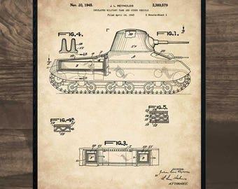 Tank Art, patent print, Military Gift, blueprint art, US Army, airborne, military decor, military art, military gifts, military print