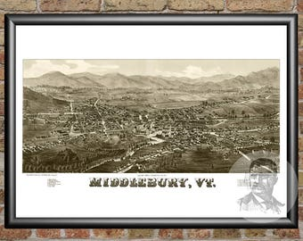 Middlebury, Vermont Art Print From 1886 - Digitally Restored Old Middlebury, VT Map - Perfect For Fans Of Vermont History