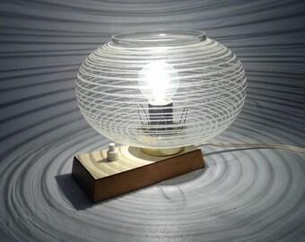 Vintage Table Lamp / Vintage Table Light / Vintage Desk Lamp / Glass & Wood / 70s Lamp / Vintage Home Decor