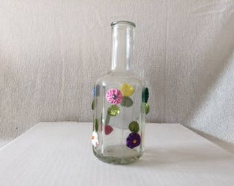 Vase with MultiColored Flower Design