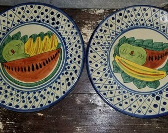 "Signed ""Hecho in Mexico Auora"" Decorative Plate Set."