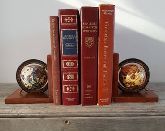 Vintage Globe Bookends World Book Ends Japan Gift for Reader Collectible Bookcase Retro Office Decor Professor Teacher Geographic Gift