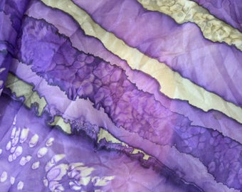 Vintage women scarf silk hand painted hand rolled violet