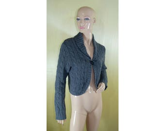Vintage women cardigan vest top gray wool and cashmere