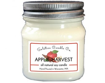 Apple Harvest Soy Candle | Mason Jar Candle | 8 oz | Wood Wick | All Natural | Hand Poured | Fruit Scent | Home Decor