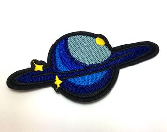 Blue Planet With Rings - Iron on Appliqué Patch