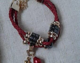 Bracelet cords metallic Burgundy and gold