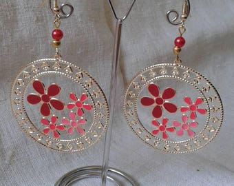 """Earrings """"red floral patterns"""""""