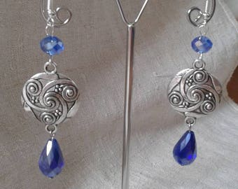 """beautiful faceted blue"" earrings"