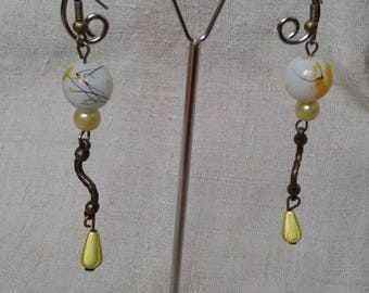 yellow and White Pearl Earrings
