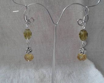 yellow pearl and Flower Earrings