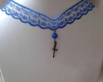 """""""dancer and blue lace Ribbon"""" Choker necklace"""