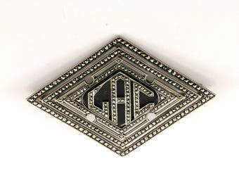 Vintage Initial GAC Onyx Marcasite Inlay Pin/Brooch 925 Sterling BB 139-E