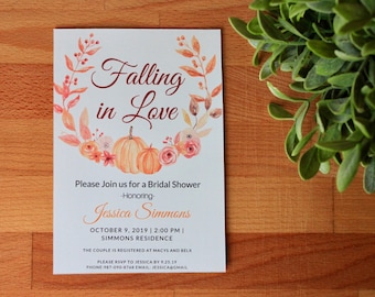 Fall Bridal Shower Invitation, Falling In Love Invite, Fall Bridal Invitation, Autumn, Printable or Printed