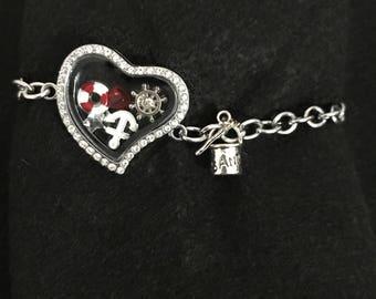 Nautical locket charm bracelet