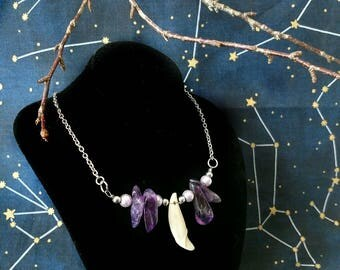 Amethyst & Coyote tooth silver necklace
