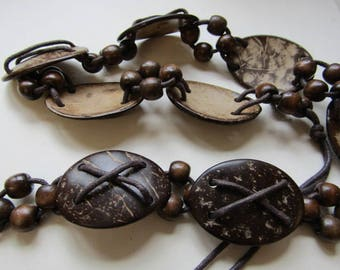 Brown coconut and Macrame belt