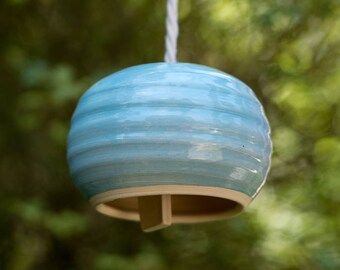 Handmade Large Blue Round Ceramic Bell Wind Chime Ready To Ship