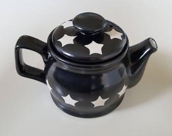 Black Teapot with Cream Stars