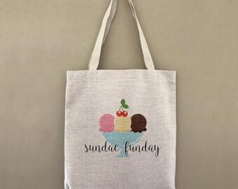 Custom Tote Bag Sundae Fundae Customizable Personalized Gift For Her Gift For Him Ice Cream Banana Split Shopping Bulk