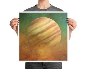 Jupiter Rising Space Poster, 10x10, 12x12, 16x16, 18x18, Martian Decor, Surreal Sagittarius Print