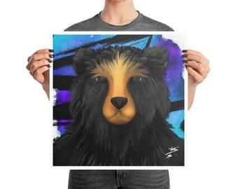 Black Bear Poster, 10x10, 12x12, 18x18, Purple Indigo Style Decor, Animal Nursery Print