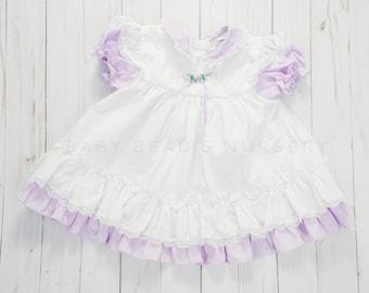 Purple white baby dress, 3-6 months lavender dress, lavender baby dress, 80s baby dress, 80s vintage baby clothing, lavender lace baby dress