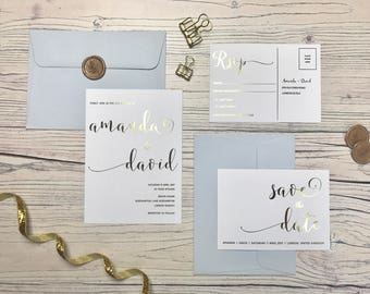 Gold Wedding Invitation and RSVP - Modern Calligraphy Wedding Invitation - Rose Gold / Gold / Silver Foiling