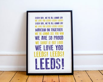 """Leeds United Football Club """"Marching On Together"""" Print, Digital Download A4 ,Football Gifts,Football Posters, Elland Road"""