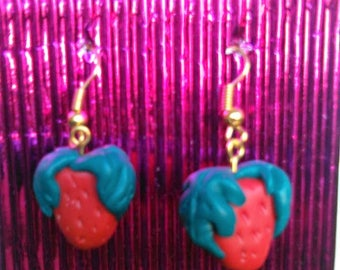 STRAWBERRIES, Polymer Clay, Earrings Jewellery, Fruit