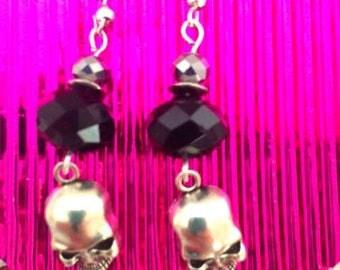 Skull, Earrings, Silver, Jewelry, Jewellery, punk, Gothic,Beads,
